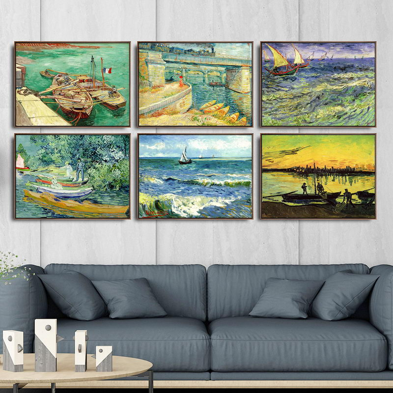 Home Decoration Art Wall Pictures Fro Living Room Poster Print Canvas Paintings Netherlandish Vincent Van Gogh Ship in Painting Calligraphy from Home Garden