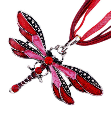 Czech multi-layer dragonfly pendant chain women's jewelry enamel dragonfly chain necklace with rhinestones colorful necklace