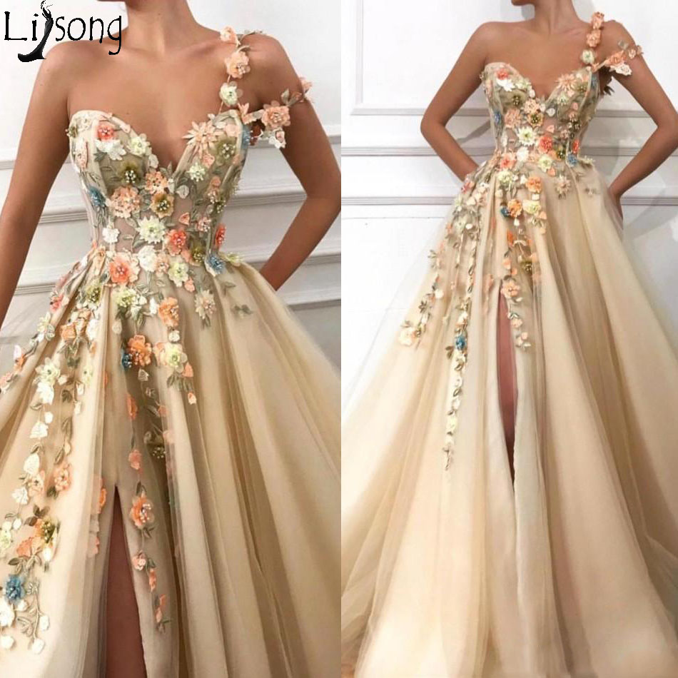 2019 Gorgeous Champagne One Shoulder Prom Dresses Ruched A Line Front Slit Tulle Hand Made Flowers