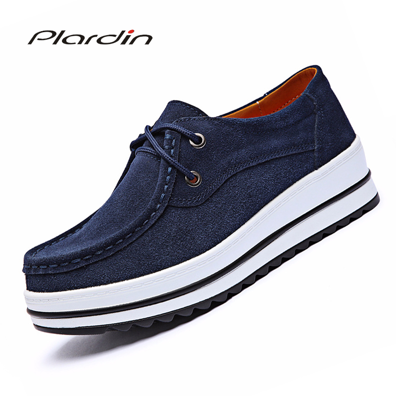 Plardin New Women Sewing Leather Suede Platform Sneakers Women Shoes Ladies Casual Lace Up Flats Creepers Moccasins Woman Shoes
