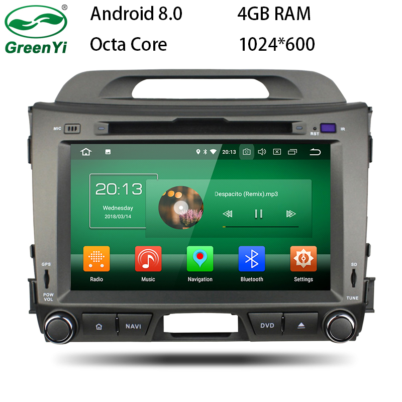 GreenYi Android 8.0 8 Core 4G RAM Car DVD GPS For Kia Sportage 2010 2011 2012 WIFI Autoradio Multimedia Stereo