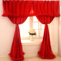 Princess Style Custom Made Lace Cortinas Luxury Red Curtain Living Room Joyous Wedding Curtain Rideaux Wedding Decoration