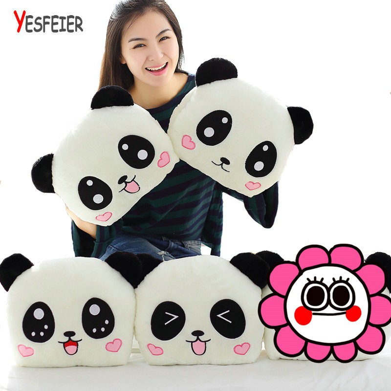 1PC 35cm Panda Bear Plush Hand Warmer Arms Pillow Cushion Stuffed Animal Animal Doll Peluches Plush Toys 2018 huge giant plush bed kawaii bear pillow stuffed monkey frog toys frog peluche gigante peluches de animales gigantes 50t0424