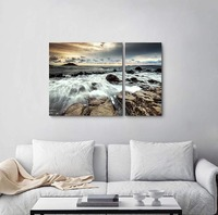 Canvas Paintings Coastal Wall Pictures Prints Rocks and Waves Tides Printed For Living Room Decor