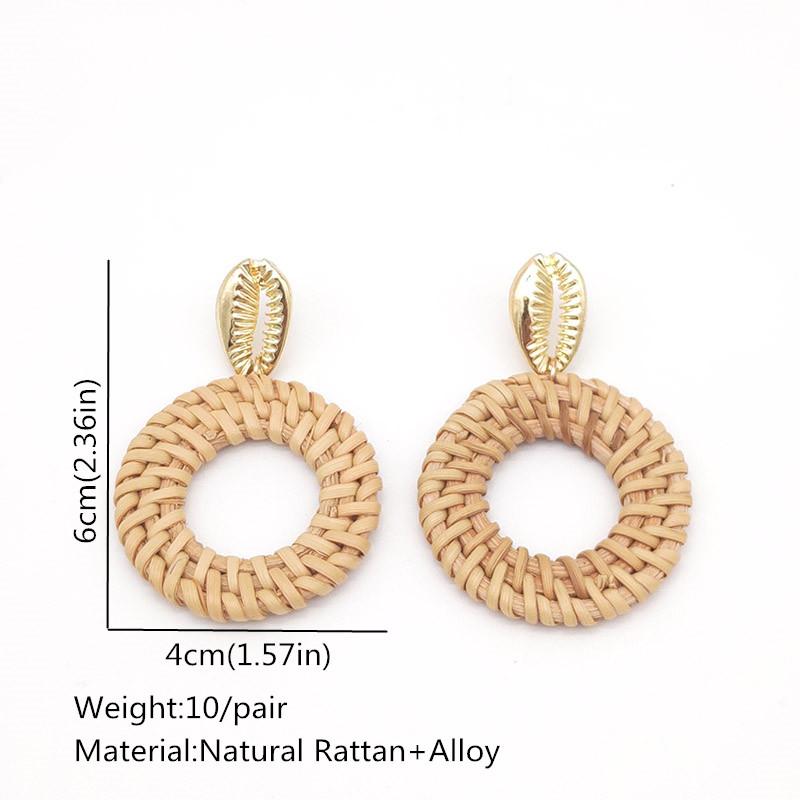 Bohemian Wicker Rattan Knit Pendant Earrings Handmade Wood Vine Weave Geometry Round Statement Long Earrings for Women Jewelry 17