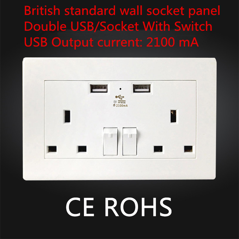 цена на 1PCS SS022 British standard wall socket panel Power Double USB/Socket With Switch 2100 mA Outlet panel 16A 110--250V