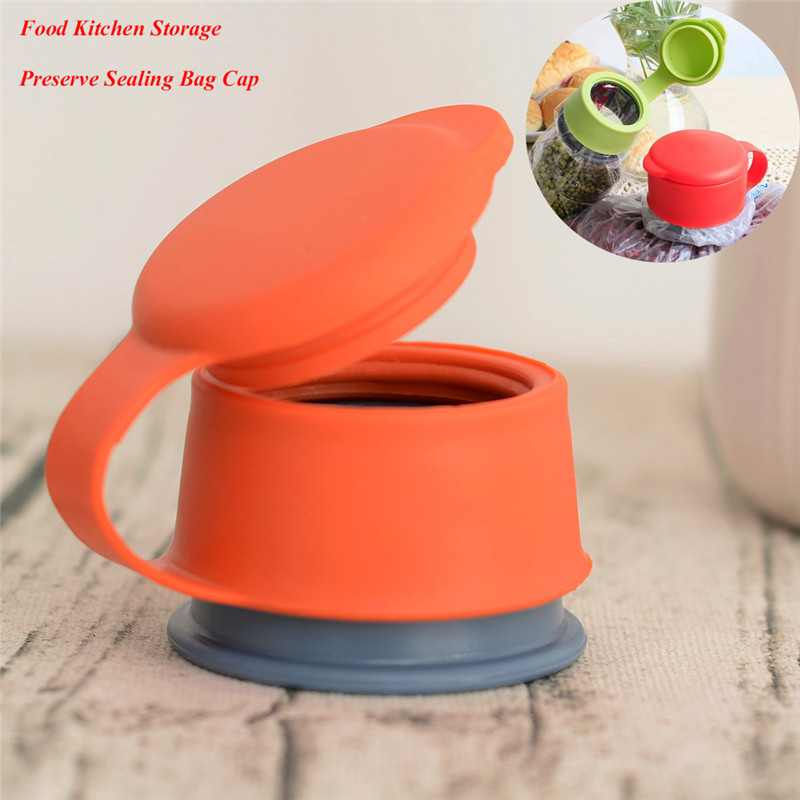 Hot Plastic Bag Cap Screw Preserver Bag Clips Plastic Bag Cap Food Storage Kitchen Airtight Sealer food sealing cover