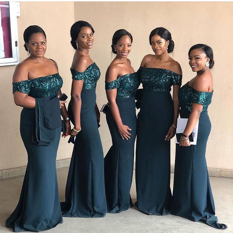 Long Dark Green Bridesmaid Dresses Off Shoulder Mermaid Style Vestidos De Madrinha Sequins Stretch Satin Wedding Party Gowns