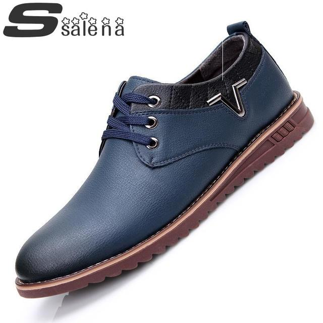 Men Leather Shoes Oxfords European Men Fashion Dress Shoes Loafers  Male Lace Up Casual Flats Shoes Size38-44 #C383