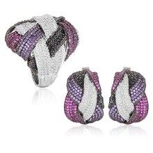 Godki mais novo famosa marca de luxo enrolamento cruz geometria cúbico zironia cz conjuntos de jóias para o casamento feminino dubai conjunto de jóias de noiva