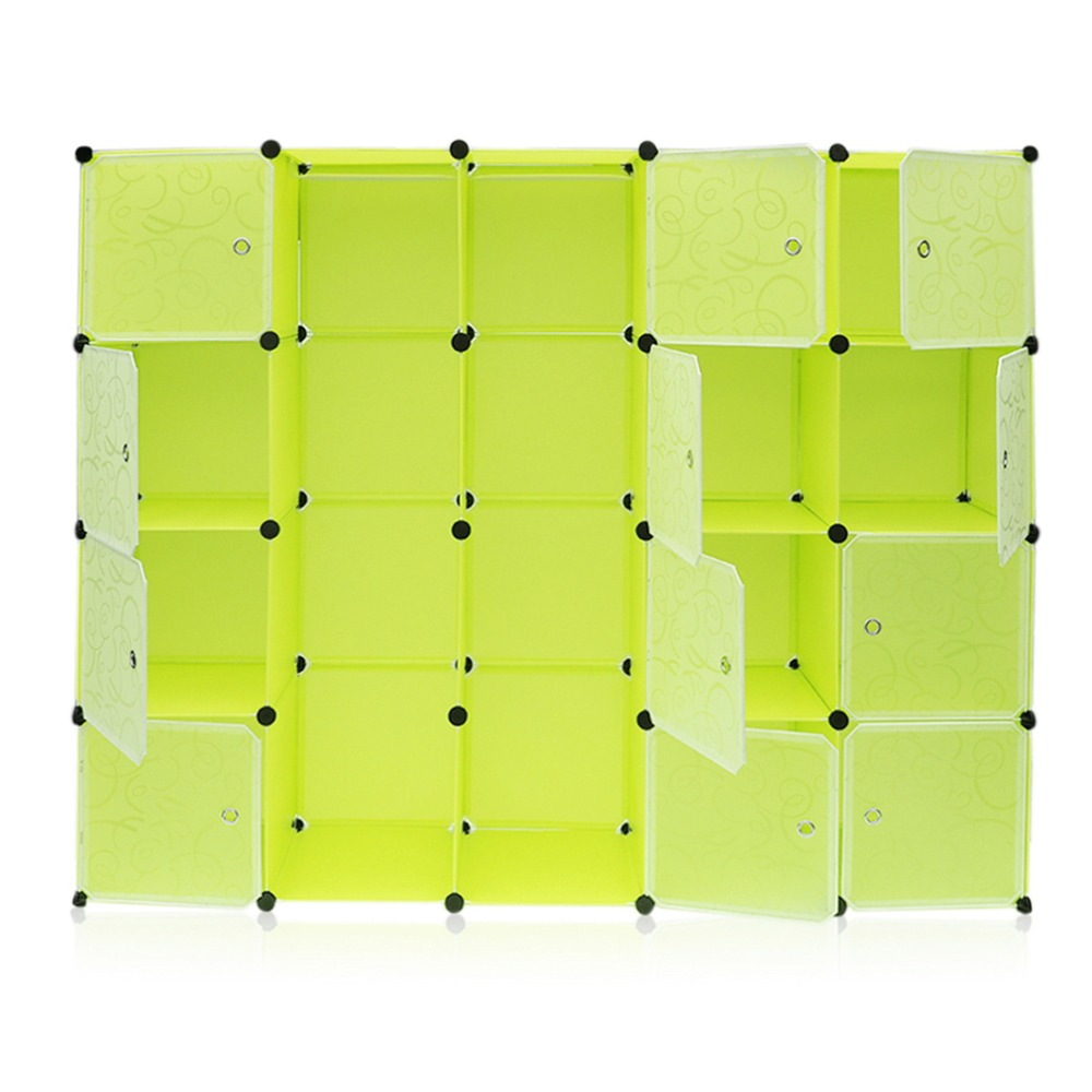 12 rejillas + 2 filas armarios Simple caja de almacenamiento de resina gabinete DIY montado Extra grande mágico niño organizador de armario guardarropa - 5