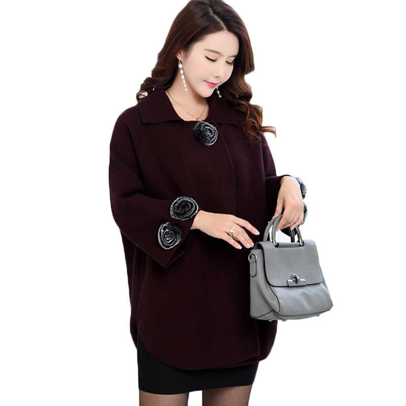Kadın örgü kazak hırka ceket yeni moda orta yaş anne giyim katı gevşek artı boyutu 6XL yarasa kollu kazak Tops