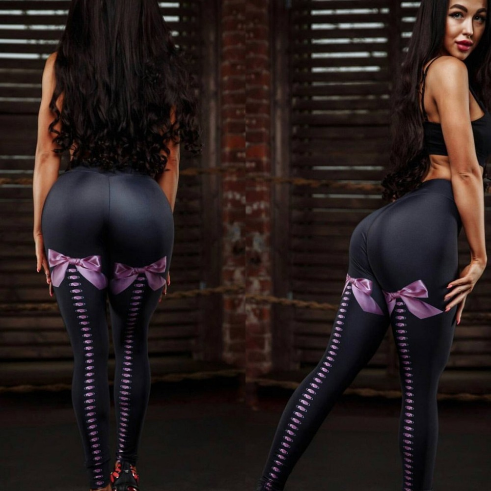 Women Sexy Bow Printed Fitness   Leggings   High Waist Push Up   Legging   Activewear Workout Black   Leggings   Stretch Leggins