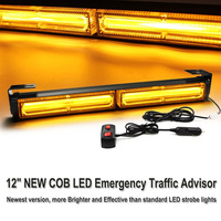 AICARKAS 12inch 10W COB LED 7 Modes Emergency Warning Flashing Light LED Strobe Light Bar with Cigarette Lighter Amber White 12V