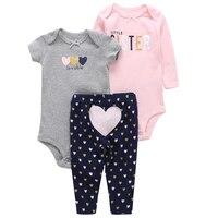 3pcs Lot Baby Boy Girl Clothing Set Newborn Clothes Autumn Summer Romper Pants Costumes 2Pcs Jumpsuit