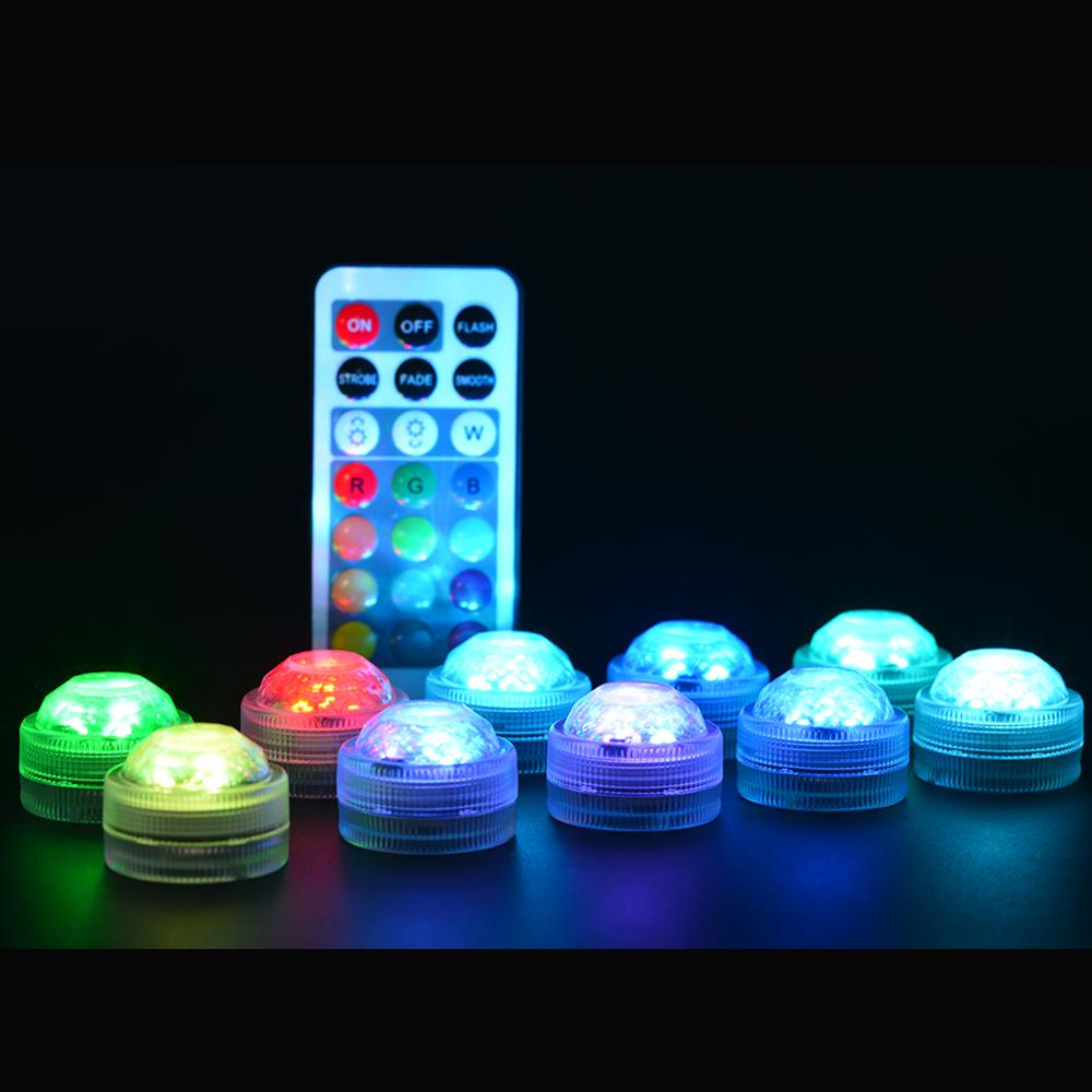 Energetic 10pcs/set Remote Controlled&battery Operated Submersible Wedding,party,holiday,event Decoration Led Light In Short Supply Lights & Lighting