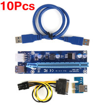 10PCS PCIe PCI-E PCI Express Riser Card 1x to 16x USB 3.0 Data Cable SATA to 6pin IDE Molex Power Supply 60cm for BTC, LTC, ETH