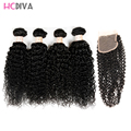 4 Pieces Hair with Closure Brazilian Virgin Hair With Closure Kinky Curly Queen Hair Products 4*4 Lace Closure With Bunldes