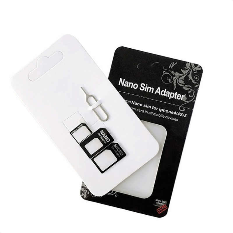 4 in1 Sim-kaart Adapter Voor iPhone 5 nano sim adapter set Sim-kaart Full sim card adapter voor telefoon droshipping