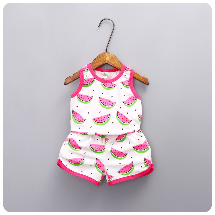 2016 Summer Korean Girl 2 Pieces Set New Pattern Children's Garment Baby Package Edge Watermelon Printing Vest Shorts Suit