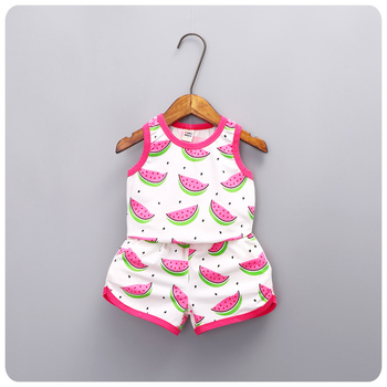 2016 Summer Korean Girl 2 Pieces Set New Pattern Children's Garment Girl Baby Package Edge Watermelon Printing Vest Shorts Suit
