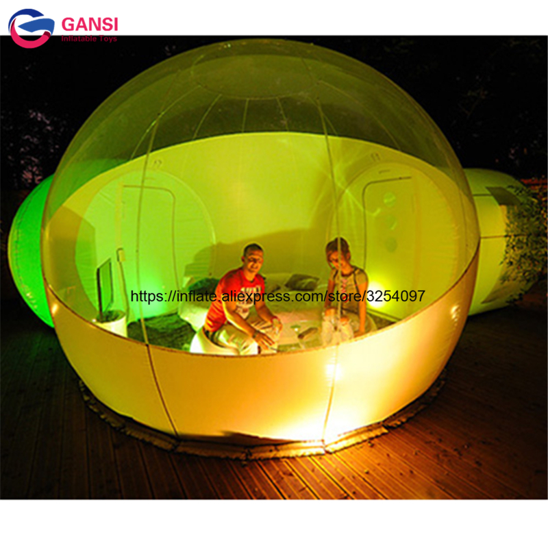 Factory inflatable bubble camping tent with double rooms waterproof photobooth bubble sleeping tents inflatable clear dome tent factory price hot selling outdoor party event waterproof clear dome tent inflatable transparent bubble tent for camping