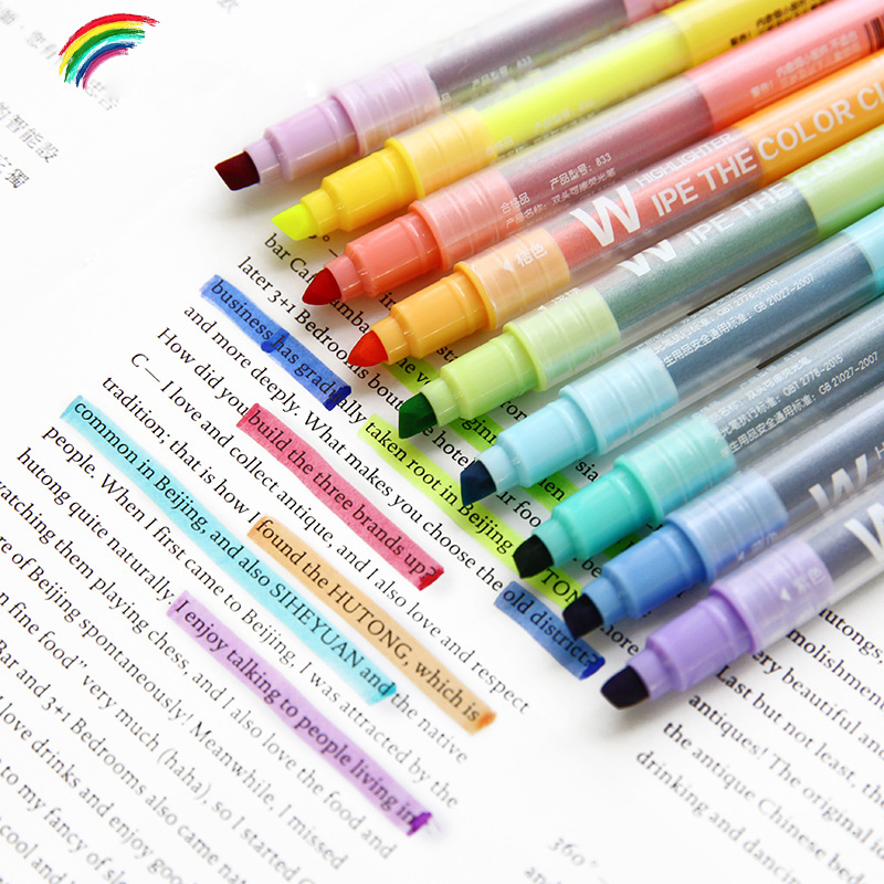 10 unids/set lindo doble cabeza borrable pluma fluorescente mildliner suave marcadores Color marcador de libro de la escuela kawaii