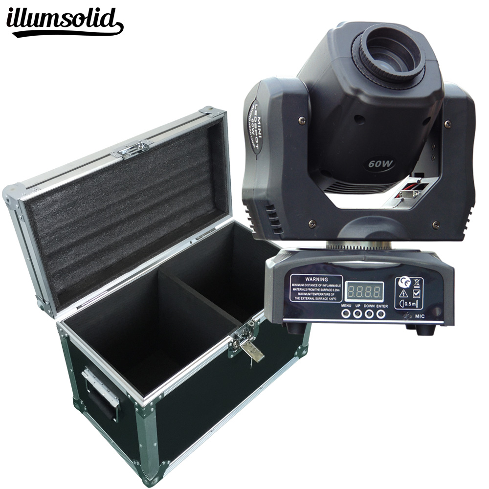 Flight case with 2pcs lot LED Inno Pocket Spot Mini Moving Head Light 60W DMX dj