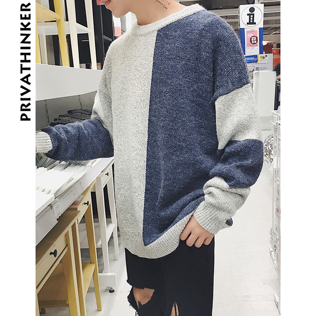 Privathinker Men Patchwork Sweater 2018 Mens Harajuku O-Neck Winter Sweater  Male Korean Color Block c9f04c9b8