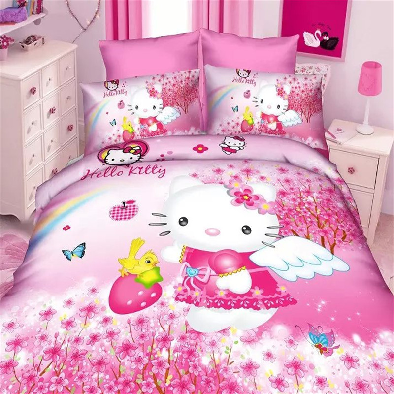 New Cartoon 3d Hello Kitty Girls Bedding Set 2/3pcs Twin/single Size Duvet