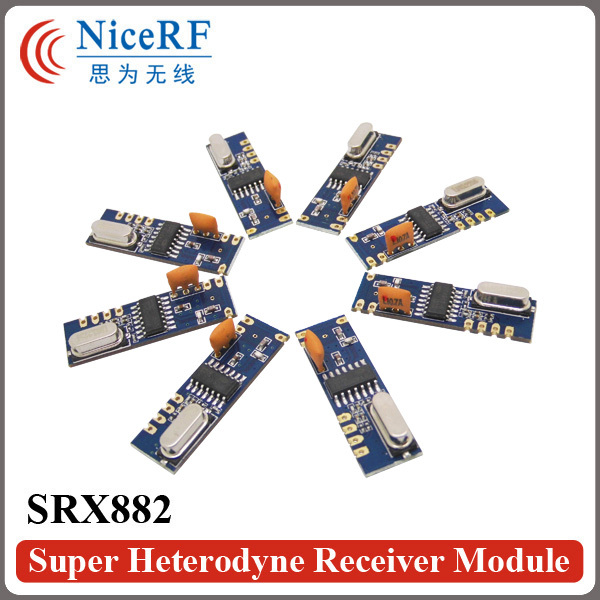 imágenes para 6 unids/pack SRX882 NiceRF 433 MHz Superheterodino Ask RF Módulo Inalámbrico con antena primavera