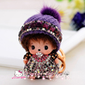 Christmas Hat 8.5x5.5cm Crystal Kiki Lovely Baby Fashion 18K Gold Plated Car Keychain Key Ring Pendant Auto Interior Accesories