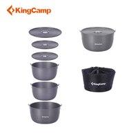KingCamp походная посуда из твердого анодированного алюминия 6 шт. походная посуда для пикника включает кастрюли и переносную сумку
