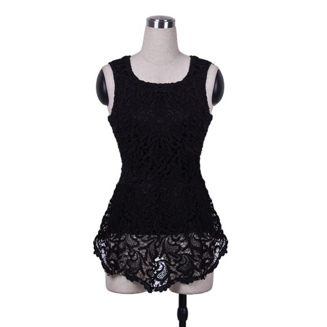 Novas Mulheres Moda Sem Mangas Rendas Scalloped Crochê Peplums zíper Sólida Vest Asymmetric Tops Vestido BTY670 Tamanho XS-XL