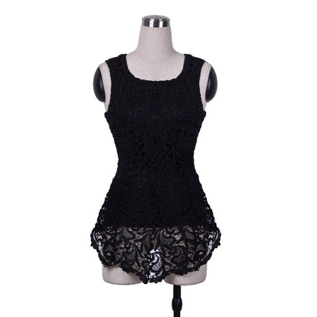 new Fashion Women Sleeveless Lace Scalloped Crochet zipper Peplums Solid Vest Asymmetric Tops Vestido BTY670 Size XS-XL