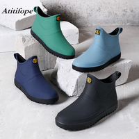 Rain boots men's short boots kitchen non slip rubber shoes soft bottom wear labor insurance fashion waterproof shoes