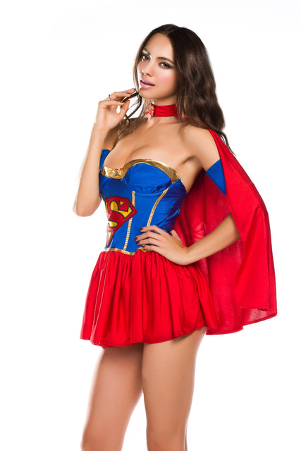 New 2014 Womens Adult Classic Halloween Costumes Sexy Super Girl Hero Fancy Party -5244