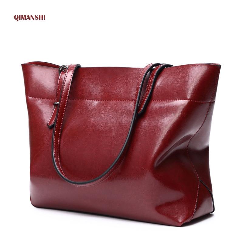 QIMANSHI Genuine Leather Women Shoulder Bag Brand Designer Cowhide handbags Skin Crossbody bag Large Capacity Top-handle Bags