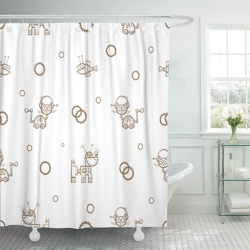 Fabric Shower Curtain With Hooks Silver Alien Cartoon Cats Dogs And Fishes Robots On White Animal Caricature Child