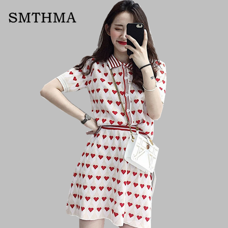 SMTHMA 2019 New Spring and Summer Women's Clothing Short sleeve Heart Prints Knitted Sweater Cardigan + 2 Pieces Women Skirt Set