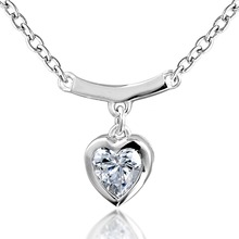 Dormith real 925 Sterling Silver necklace classics heart shape pendant necklace for women  jewelry necklace цена 2017