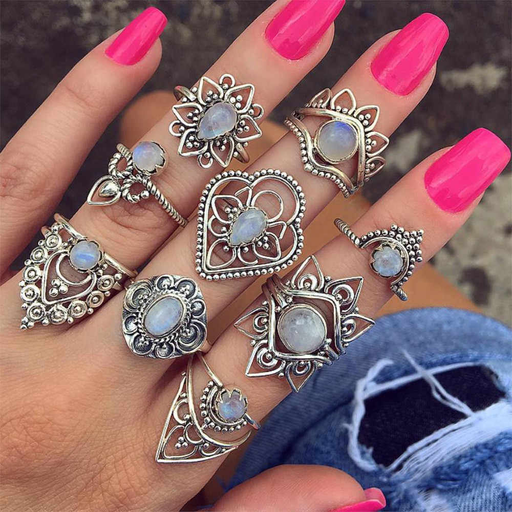 Zerotime #501 2019 FASHION 9 Rings Set Fashion New Bohemian Vintage Women Alloy Finger Rings Punk Ring Gift Luxury Free shipping