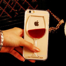 New Hot Sale Liquid Quicksand Red Wine Clear Transparent Phone Case hard back Cover for iPhone 4S/ 5C / 5S / 6 /6S/6Plus/6S Plus