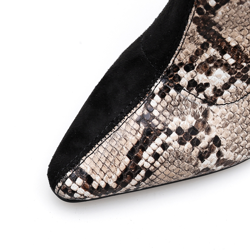 Tacón Zapatos Cm Delgada Negro Del Talón Estampado Mujeres Alto Largo Señoras Rodilla Punta Moda De Serpiente Las Botas La Altas 10 Y TCqdwd