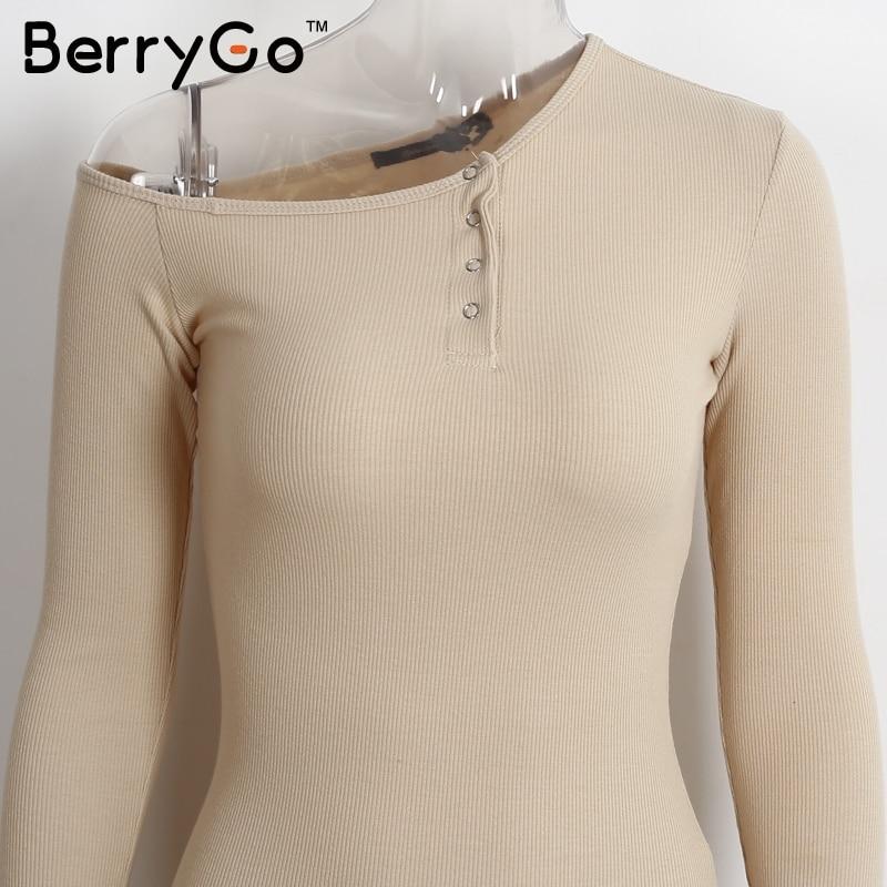 BerryGo Elegant off shoulder bodycon dress Long sleeve short evening party club white dress Women autumn winter black sexy dress 10