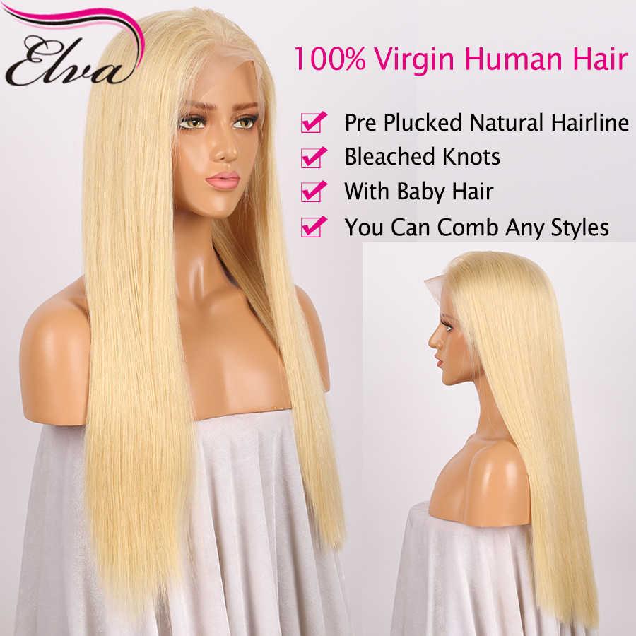 Elva Glueless 613 полный кружево человеческие волосы Искусственные парики с ребенком волос бразильский 130% плотность Remy Предварительно сорвал