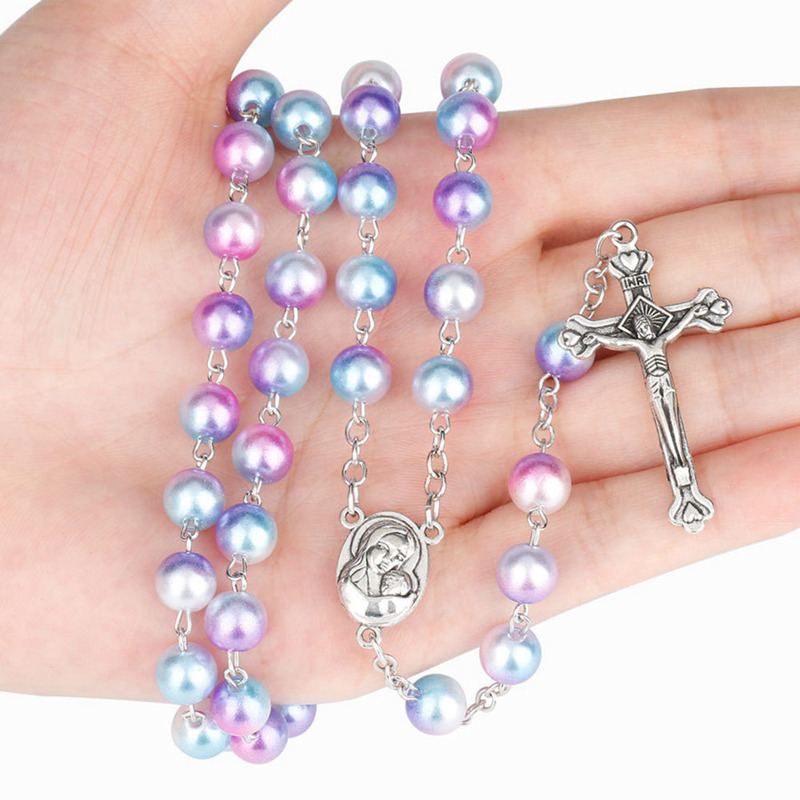 12 Colors Colorful Bead Glass Pearl Catholic Christian Cross Catholic Rosary Necklace Prayer Long Statement Religious Jewelry bead