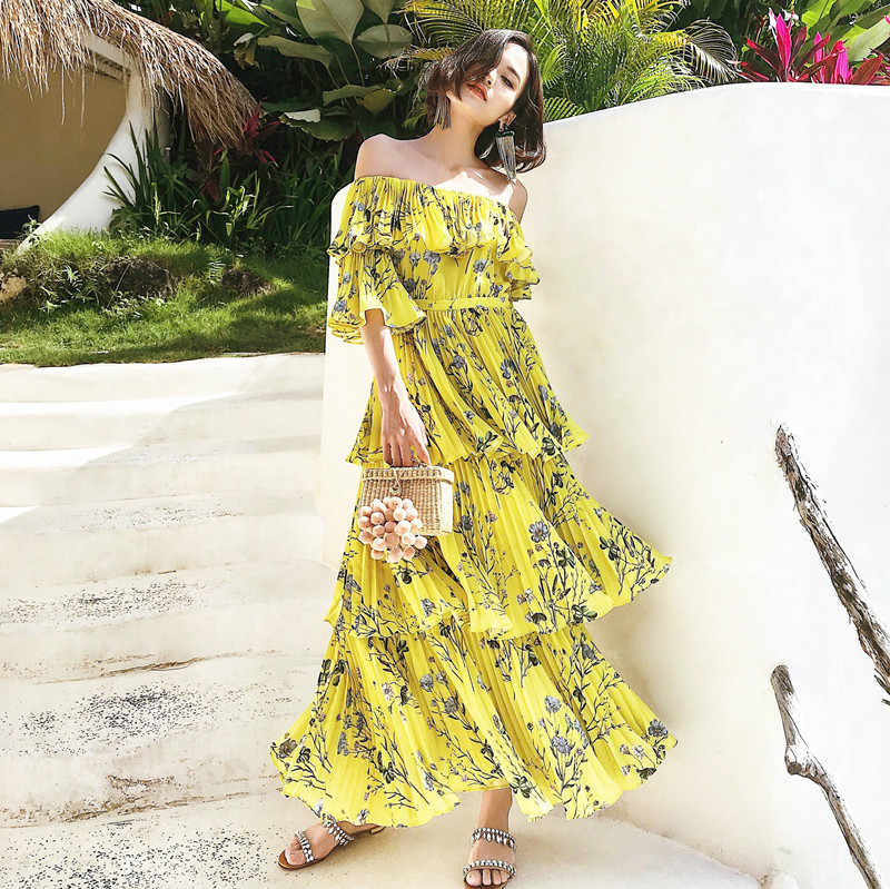 cd5a7f05d2345 ... Self Portrait Summer Boho Dress 2019 Floral Print Pleated Women Chiffon  Dress Off Shoulder Ruffle Yellow ...