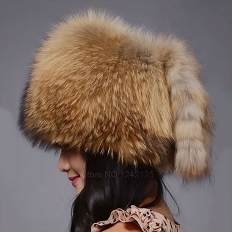 New autumn winter warm children fur hat women parent-child real raccoon hat with two tails Mongolia fur hat cute round hat cap the new children s cubs hat qiu dong with cartoon animals knitting wool cap and pile