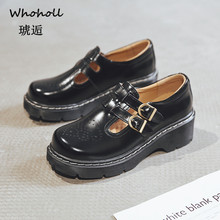 Whoholl 2019 Fashion Women Boots Spring Autumn Motorcycle Ankle Platform Ladies Black PU Leather Shoes